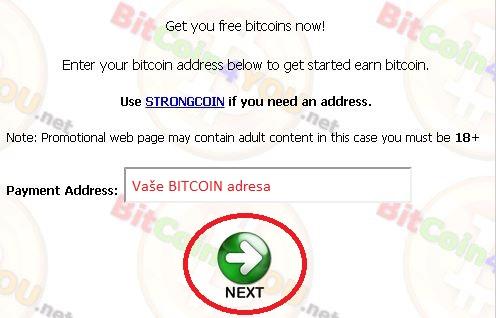 BITCOIN4YOU - zadání adresy