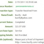 Důkaz platby BUXIFY
