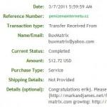 Důkaz platby BUX-MATRIX