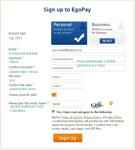 Založení účtu EGOPAY - 1. část