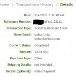 Důkaz platby ONBUX
